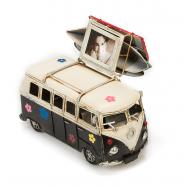 """Винтажная модель Volkswagen Transporter T2  Ретро """"Автобус"""" чёрный с белым, с фоторамкой и копилкой /12"""