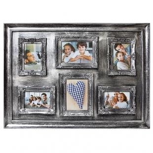 Винтажная фоторамка-коллаж на 6 фото, серебристый пластик.