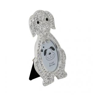 PF10270 5x6 минирамка-сувенир, щенок, металлическая со стразами