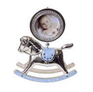 PF10342B BLUE 2.5x2.5 лошадка-качалка голубая, металлическая со стразами /6/18