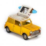 Модель Mini Cooper Ретро Автомобиль жёлтый, с фоторамкой и копилкой