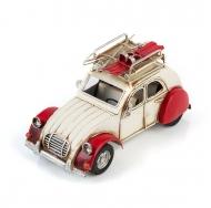 Citroën 2CV / Ситроен 2СВ - декоративная винтаж-модель  БЕЛЫЙ С КРАСНЫМ, С ФОТОРАМКОЙ /12