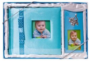 Фотоальбом детский  MA Набор 100 фото кн.пер. BABY-BLUE + рамка металл. 5х7.5см. /4/12