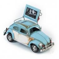 """Фольксваген Жук - Volkswagen Käfer - декоративная винтаж-модель с фоторамкой 1404E-4336 Модель Ретро """"Автомобиль"""" голубой, с фоторамкой и копилкой /6"""