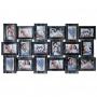 BIN-112244 Винтажный фотоколлаж мультирамка на 18 фотографий, чёрный с серебром.