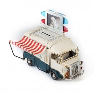 1404E-4359 Модель ретро-автобус, белый с синим, с фоторамкой и копилкой.